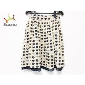 エムズグレイシー M'S GRACY スカート サイズ38 M レディース 美品 ベージュ×黒 花柄/ハート 新着 20190827
