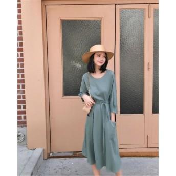 [55555SHOP] タイムセール ニットワンピース 韓国新品 Vネックワンピース セクシー 柔らかい素材、着心地抜群 韓国ファッション レディースファッション