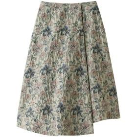 LE CIEL BLEU ルシェルブルー フローラルジャカードAラインスカート グリーン