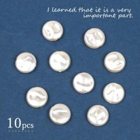 【パール】10個 コインパール11mm《パールホワイト》[ビーズ アクリル プラ 円 丸 アクセサリー 平ら 真珠]