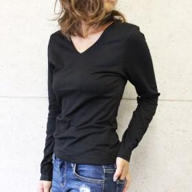 Tシャツ - CELL 前身2重VネックロンT シンプルT 長袖 定番 透けにくい トップス Tシャツ インナー 重ね着 2019新色