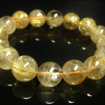 お試し価格 一点物 ゴールド タイチンルチル ブレスレット スモーキークォーツ 金針水晶 天然石 数珠 13ミリ R47
