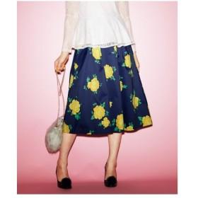 スカート ひざ丈 大きいサイズ レディース 花柄フレア  L〜10L ニッセン