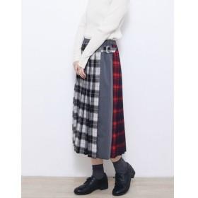 [マルイ] サイドベルトチェックキルト風スカート/プードゥドゥ(POU DOU DOU)