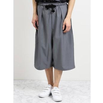 【semantic design:パンツ】ストレッチ ワイドクロップドパンツ