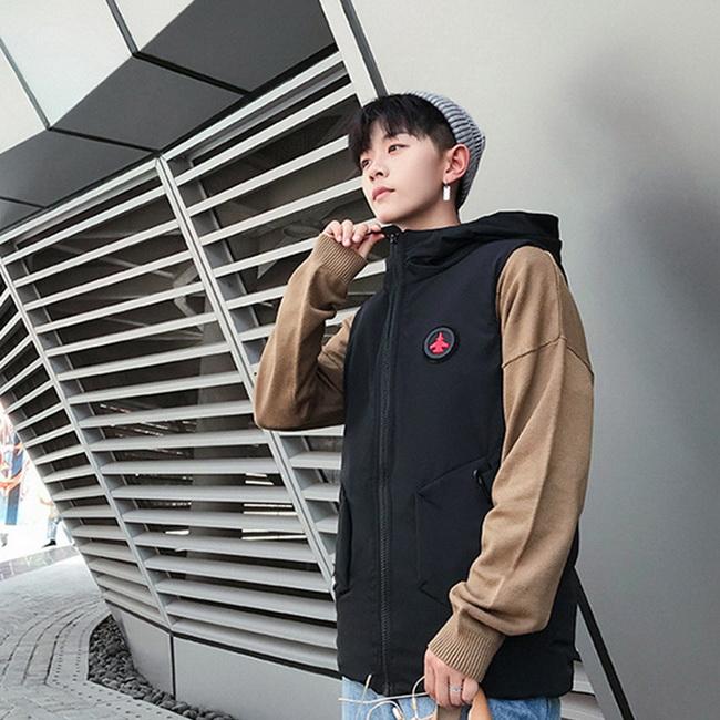 FOFU-背心外套韓版休閒LOGO素面連帽背心外套【09F0827】