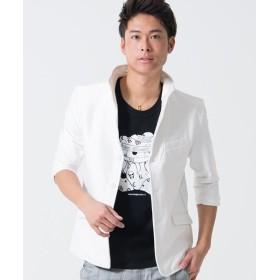 シルバーバレット CavariAスラブイタリアンカラー七分袖ジャケット メンズ ホワイト 46(L) 【SILVER BULLET】