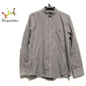 バーバリーブラックレーベル 長袖シャツ サイズ3 L メンズ 美品 白×ダークブラウン×マルチ 新着 20190827