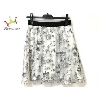 アプワイザーリッシェ スカート サイズ1 S レディース 美品 白×グレー×マルチ 花柄 新着 20190827