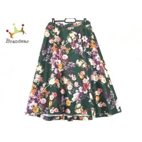 ローズティアラ Rose Tiara ロングスカート レディース ダークグリーン×マルチ 花柄 新着 20190828
