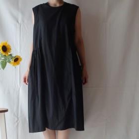 リネン&コットン 切替ギャザーワンピース(フリー/黒)