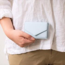 【刻印可】 手のひらサイズの三つ折りミニ財布 スカイブルー パーム MH1334