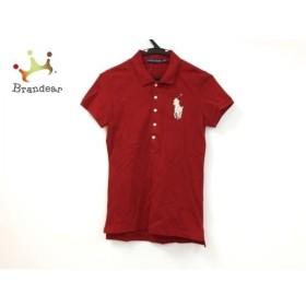 ラルフローレン 半袖ポロシャツ サイズM レディース 美品 ビッグポニー レッド×シルバー 新着 20190828