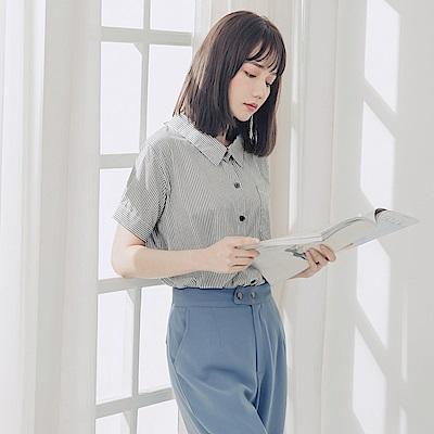 高含棉配色條紋後綁帶前短後長短袖襯衫-OB嚴選