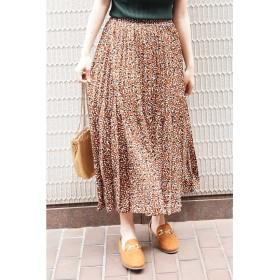 ◆レオパード変形プリーツスカート ブラウン×ブラック1
