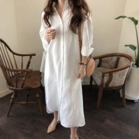 ロング シャツワンピース マキシ丈 ドレス レディース 大きいサイズ マタニティ 長袖 オーバーサイズ 白