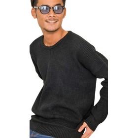 (キャバリア)CavariA メンズ セーター ニットソー クルーネック ビッグシルエット 長袖CAJP18-03 44(M) BLK(ブラック)【+】