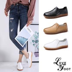 【LOVE FOOT樂芙】真皮復古手工縫線造型超軟底平底樂福鞋(3色任選)