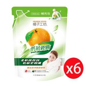 橘子工坊低敏親膚濃縮洗衣精(綠)補充1500ml*6入箱