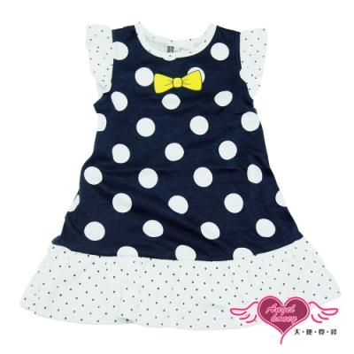 【天使霓裳-童裝】俏麗公主 可愛圓點短袖小洋裝(深藍)