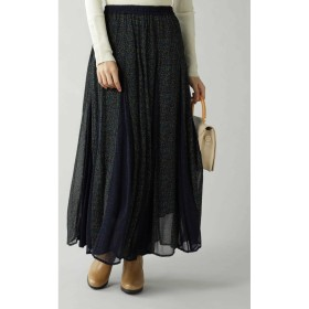 Rayon Ggt Flower Mix Skirt NAVY