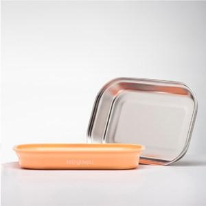 美國 Kangovou小袋鼠不鏽鋼安全平板餐盤-奶油橘