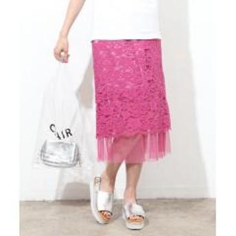 【リバーシブル】チュールヘムレーススカート【お取り寄せ商品】