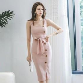 キャミワンピース ピンク タイトワンピース 膝丈 ワンピースドレス パーティー 二次会 お呼ばれ 20代 30代 韓国風 お嬢様 ベルト付き