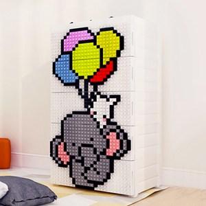 【魔法腳印】童趣益智積木拼圖五層玩具收納櫃-小飛象(拆開即用 免組裝)小飛象