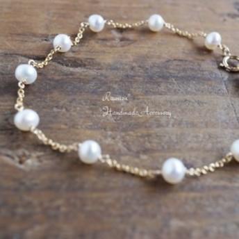 【プライスダウン】 淡水真珠のシンプルブレスレット k14gf