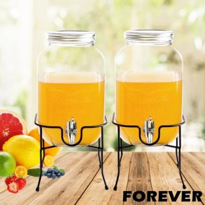 日本FOREVER 夏天必備派對玻璃果汁飲料桶(含桶架)4L-2入組