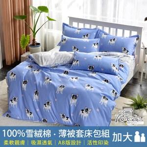 【FOCA】歡樂法鬥  加大 北歐風100%雪絨棉四件式薄被套床包組