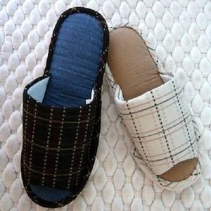 (e鞋院)【日系格紋】舒適室內拖鞋1雙藍27.5