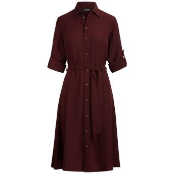 《セール開催中》LAUREN RALPH LAUREN レディース ひざ丈ワンピース ボルドー 2 ポリエステル 100% KARALYNN LONG SLEEVE TRIPLE GEORGETTE SHIRT DRESS