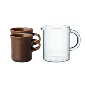 KINTO SCS咖啡壺杯分享組(咖啡壺600ml + 馬克杯2入)棕