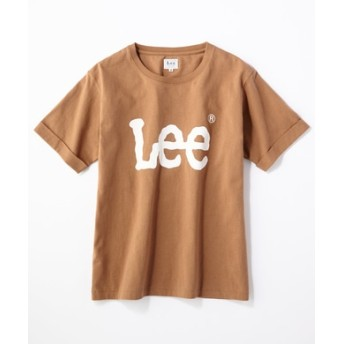 Lee ロゴプリント入りクルーネックTシャツ レディース ベージュ
