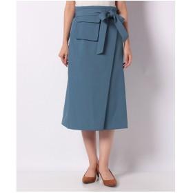 YECCA VECCA ポケットデザインAラインスカート(ブルー)