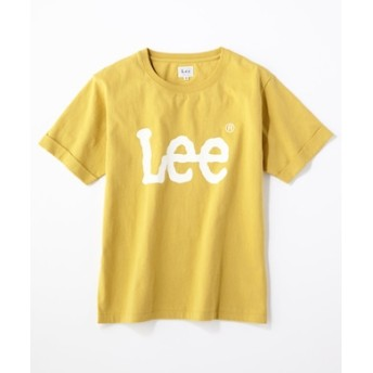 Lee ロゴプリント入りクルーネックTシャツ レディース イエロー