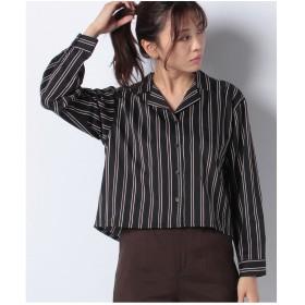 WEGO WEGO/オープンカラークロップドシャツ(ブラック系)【返品不可商品】