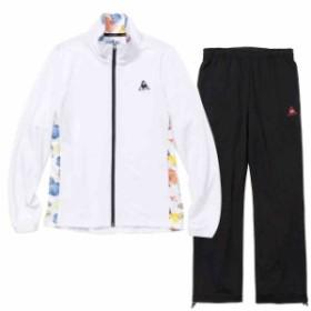 【キャッシュレス還元】 ルコックスポルティフ レディース ウォームアップジャケット&ロングパンツ上下セット ホワイト×ブラック