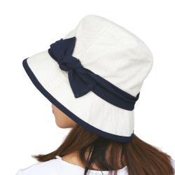 日本Aube 撞色蝴蝶結抗UV防曬小臉遮陽帽