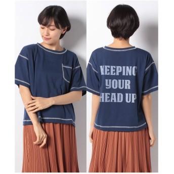 ehka sopo バックロゴTシャツ(ネイビー)【返品不可商品】