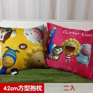 奶油獅 總動員系列 專利全彩立體印刷方形抱枕 黃+桃紅
