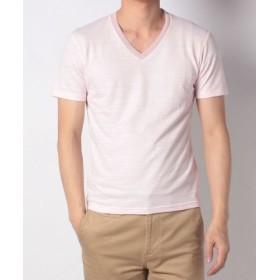 (Men's Bigi/メンズビギ)【準定番商品】 Vネック半袖Tシャツ(大人Tシャツ)/スラブ天竺/メンズ ピンク
