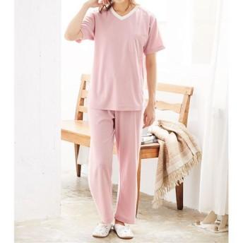 【レディース】 スポーティテイストの爽やかスマートドライ®半袖Tタイプパジャマ(メンズサイズ) - セシール ■カラー:ピンク ■サイズ:L,LL,M,S,3L,5L