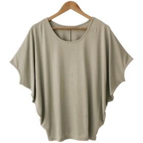 ソーシャルガール Social GIRL ゆるリラックス ワイドスリーブドルマンTシャツ (puベージュ)