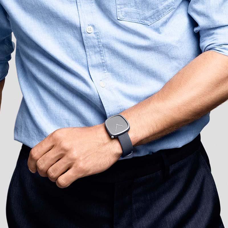 北歐簡約時尚真皮腕錶灰框、灰皮錶帶、40mm