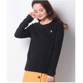 GIORDANOL [GIORDANO]ライオン刺繍クルーネックロングスリーブTシャツ(ブラック)【返品不可商品】