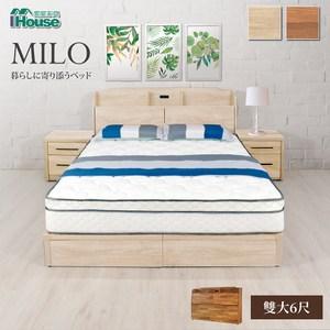 IHouse 米洛日系插座收納床頭 雙大6尺