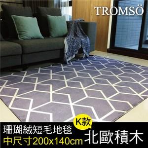 TROMSO珊瑚絨短毛地毯-中尺寸K北歐積木200x140cm